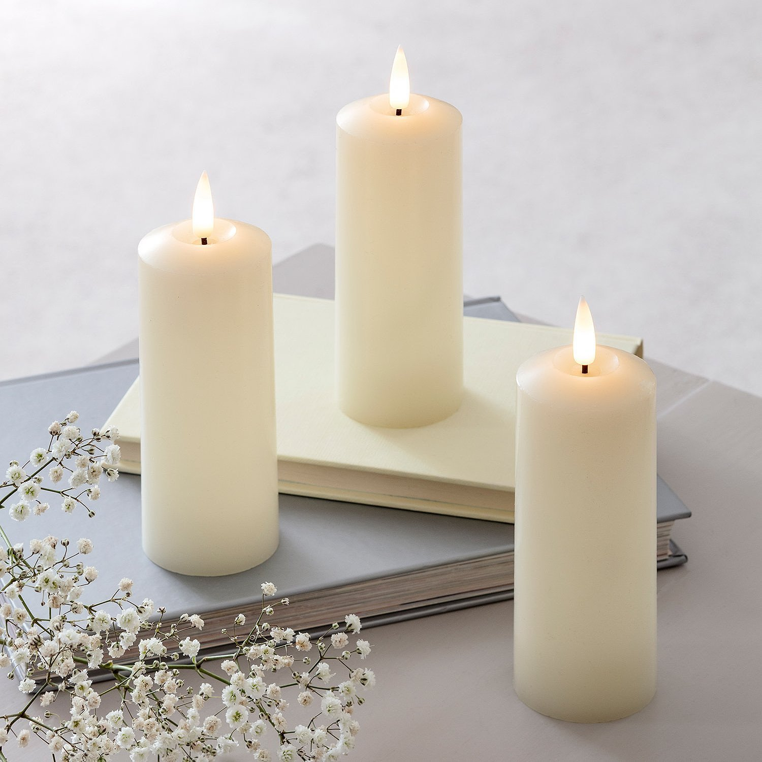 Mother's Day Gift Ideas - TruGlow® LED Slim Pillar Candle Trio: £19.99!