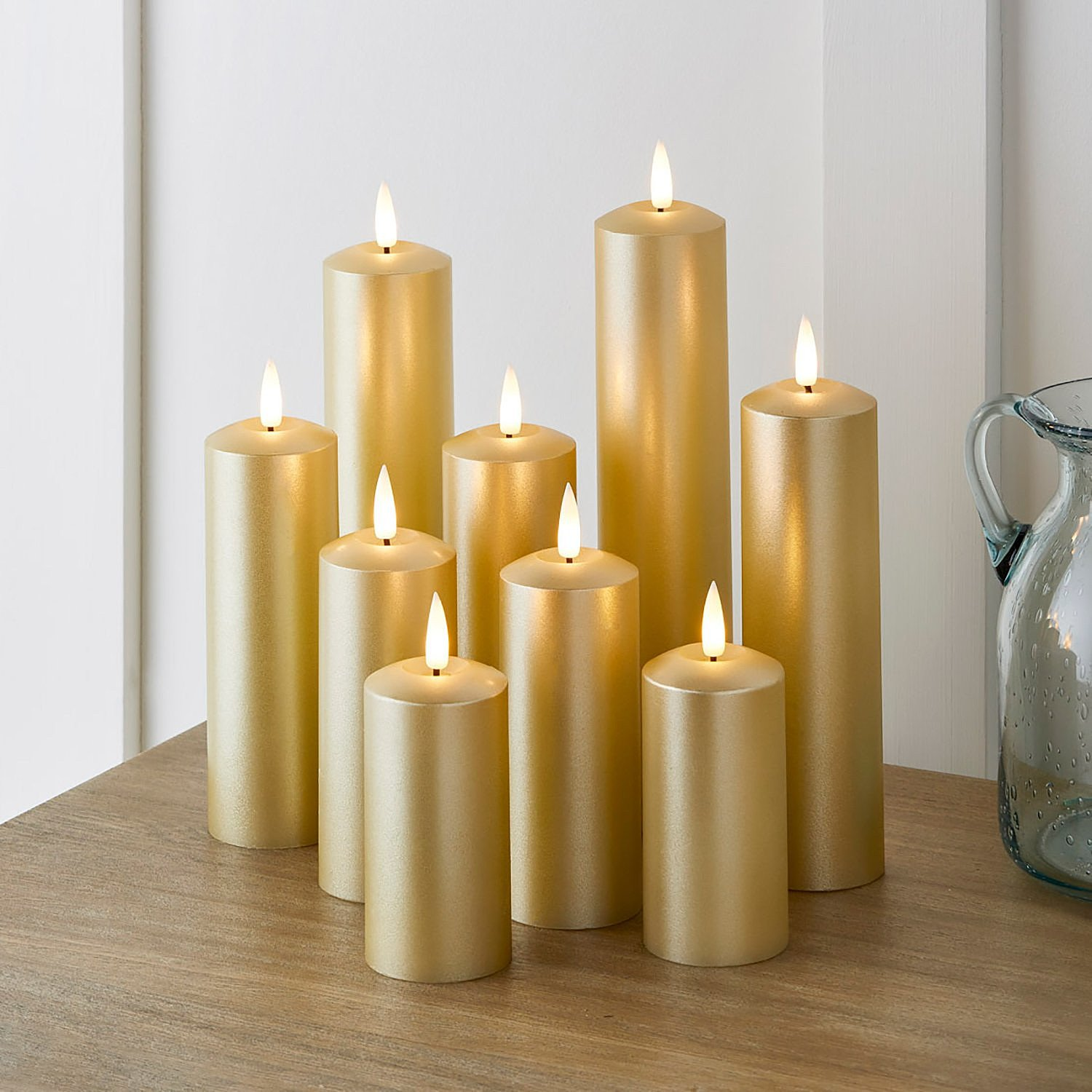 SALE - 9 TruGlow® Gold LED Slim Pillar Candles With Remote Control!
