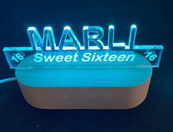 Win An LED Light Plaque Personalised with a name and Message of Your Choice (RRP £12.99)
