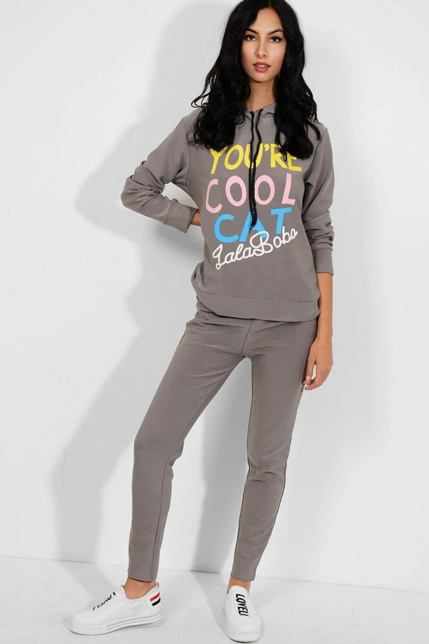 2 Piece Cool Cat Slogan Hooded Tracksuit 8-10, 12-14 Free Postage