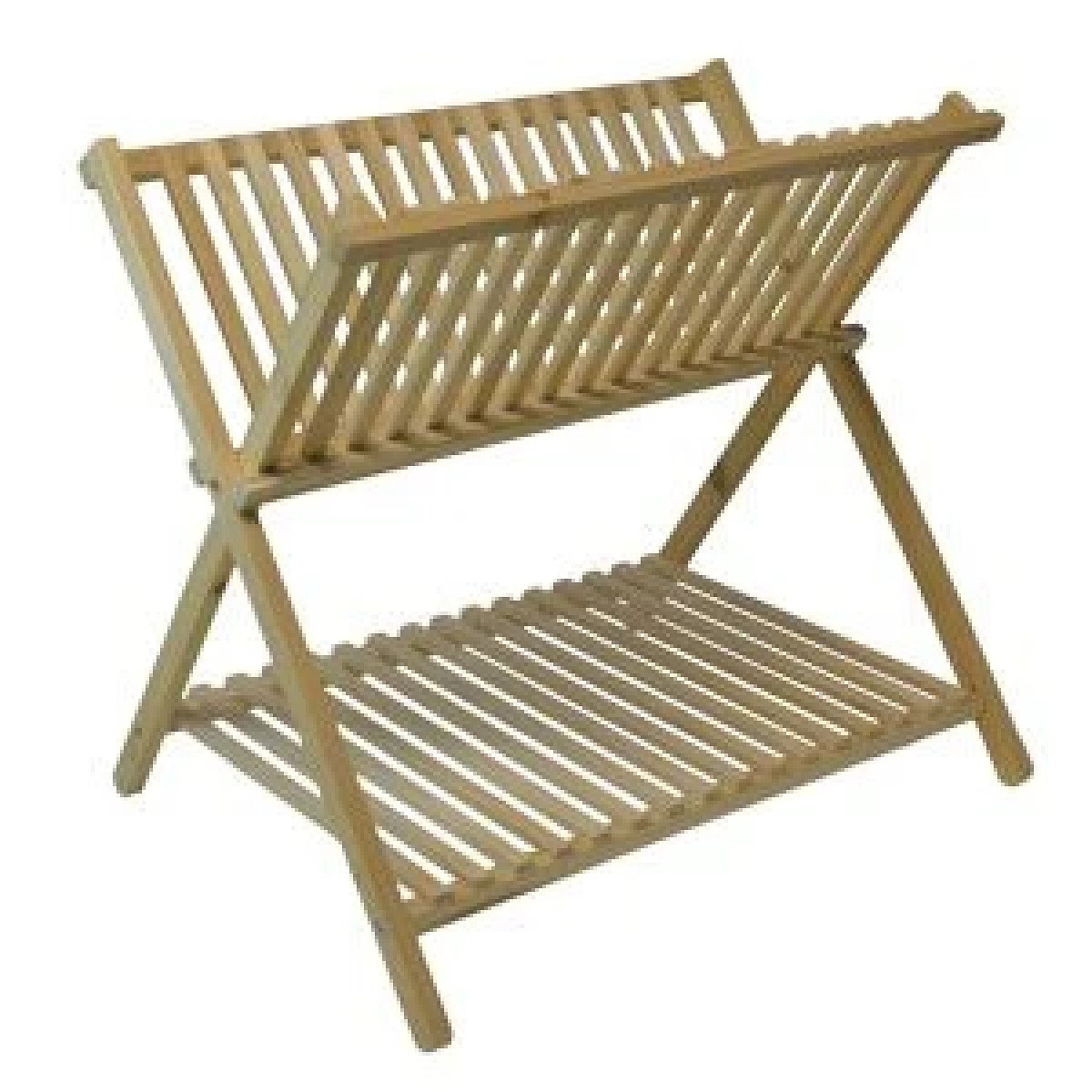 2 Tier Folding Wooden Dish Rack - Natural Colour Free Postage