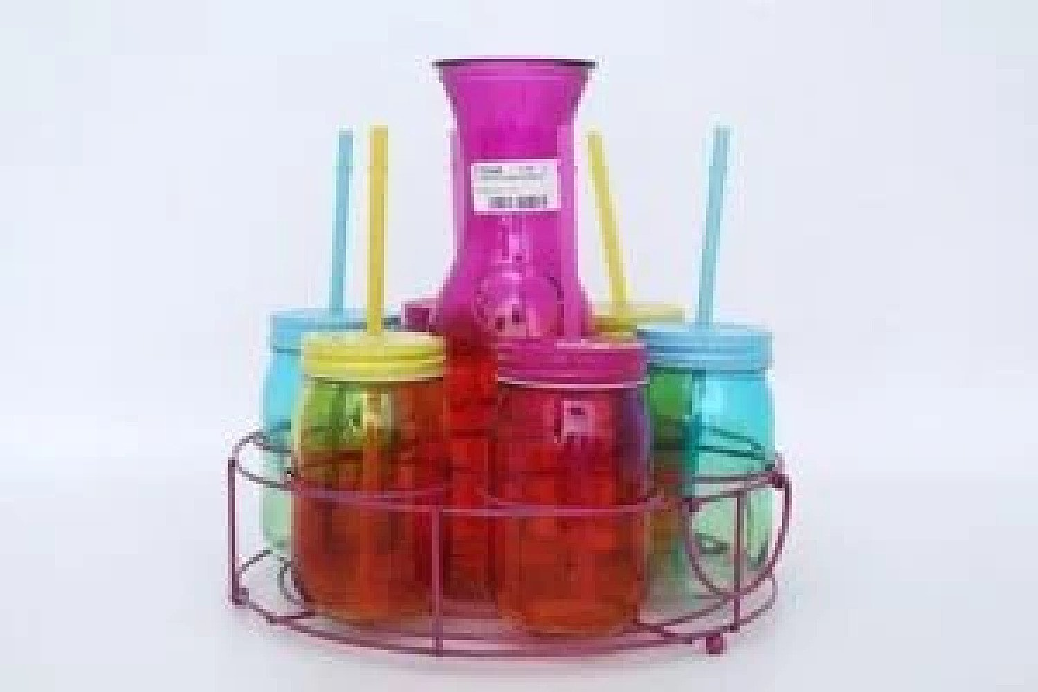 2 Toned Set Of 6 Glass Drinks Carafe Set Multi Colour Summer Theme Party Set With Caddy Free Postage