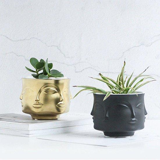 Modern Man Face Flower Vase