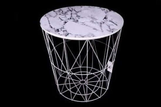 40cm round marble effect top table