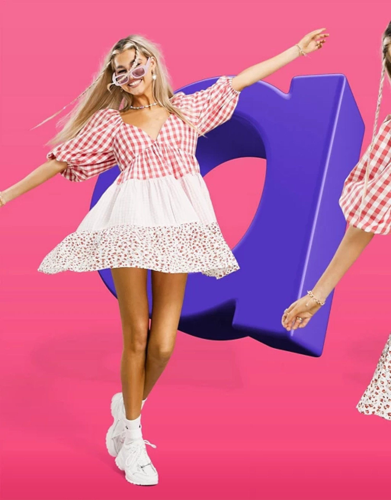 ASOS DESIGN mixed gingham and floral tiered mini smock dress - £25.00!
