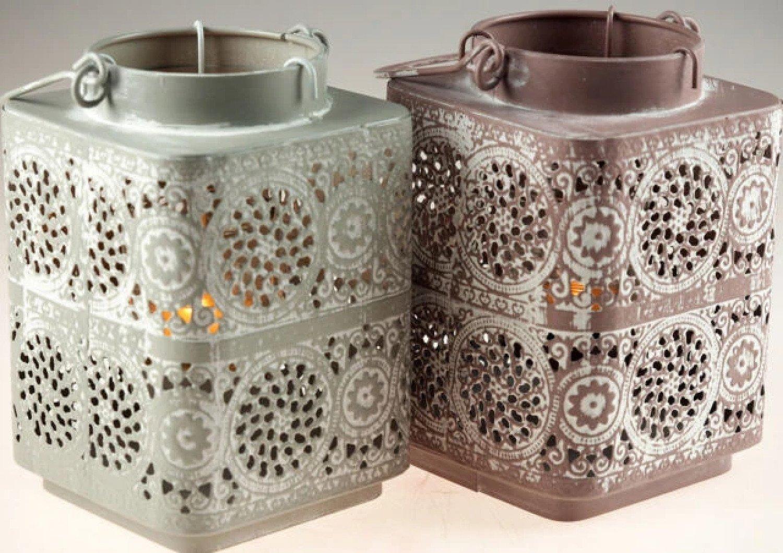 2 x Shabby Chic Square lace 17cm Tea Light Lanterns - Grey / Blush Free Postage