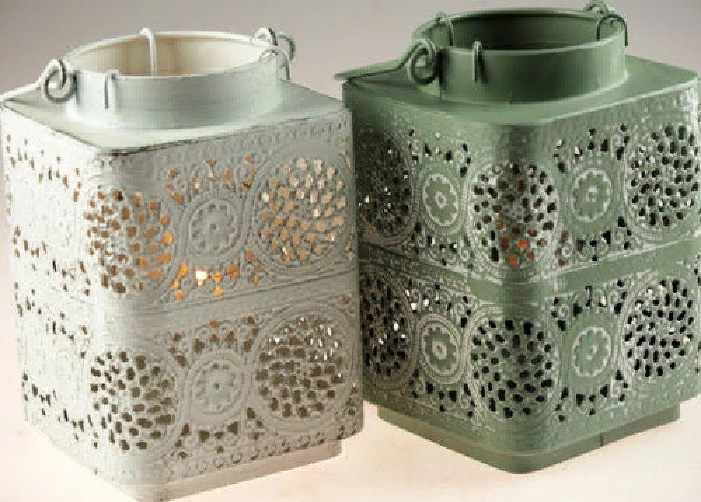 2 x Shabby Chic Square Lace 17cm Tea Light Lanterns - White / Green Free Postage