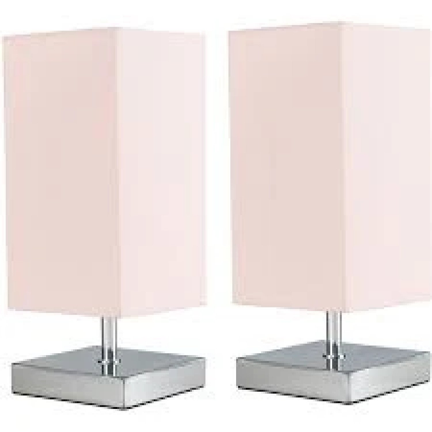 2 x Square Chrome Touch Table Lamps - Pink Free Postage