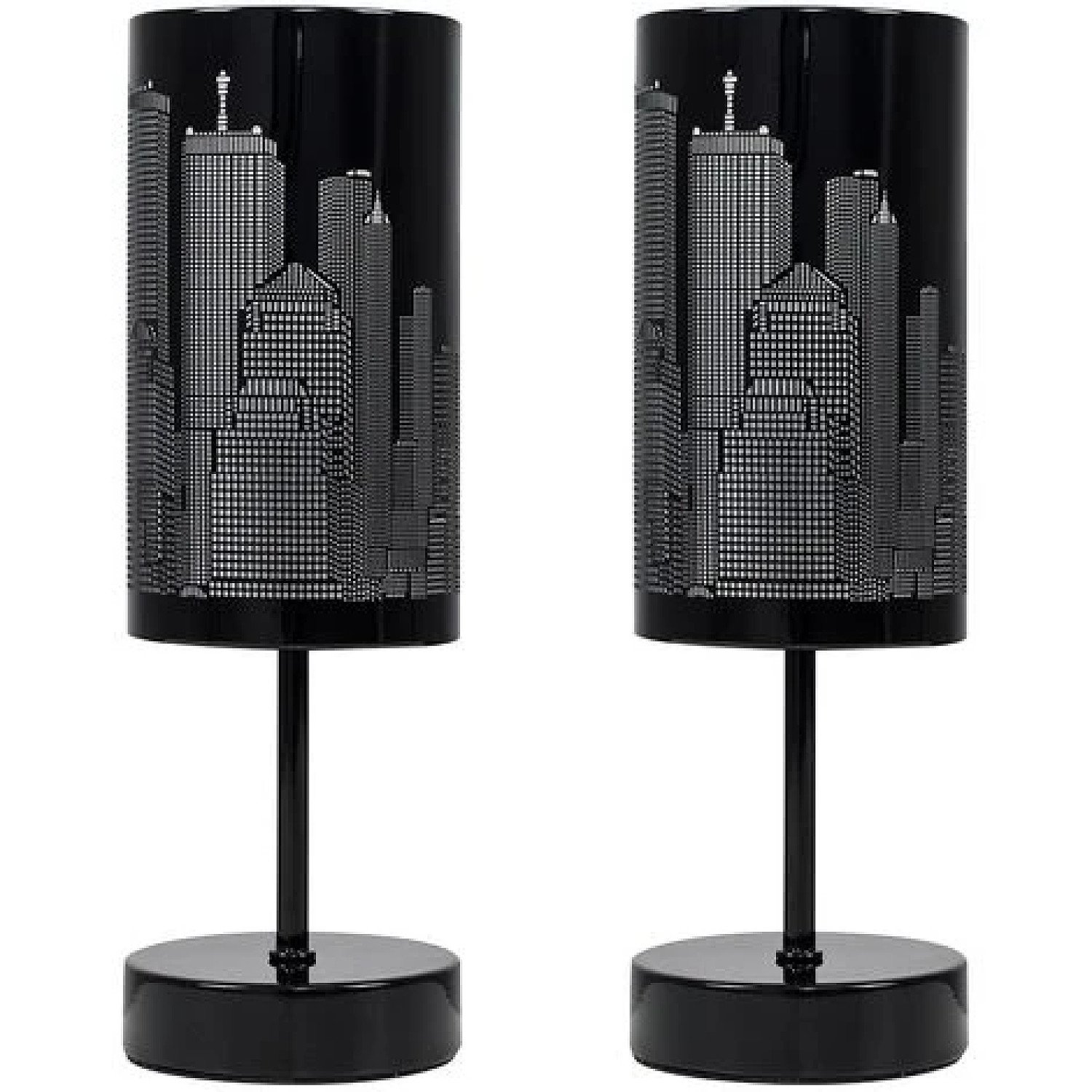 2 X TOUCH TABLE LAMPS DIMMABLE NEW YORK SKYLINE LIGHTING Free Postage