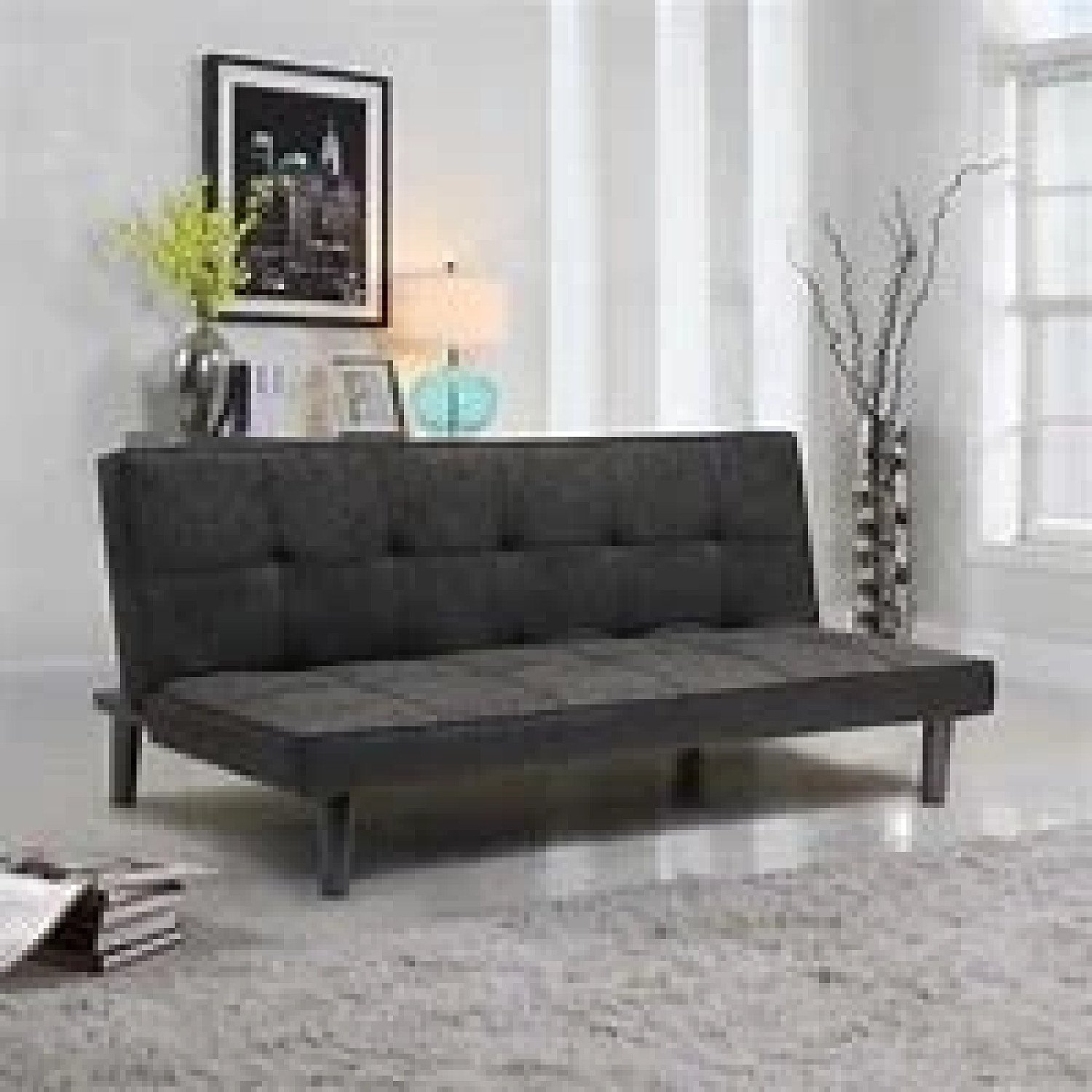 2-Seat Fabric Sofa Bed For Home DARK Free Postage