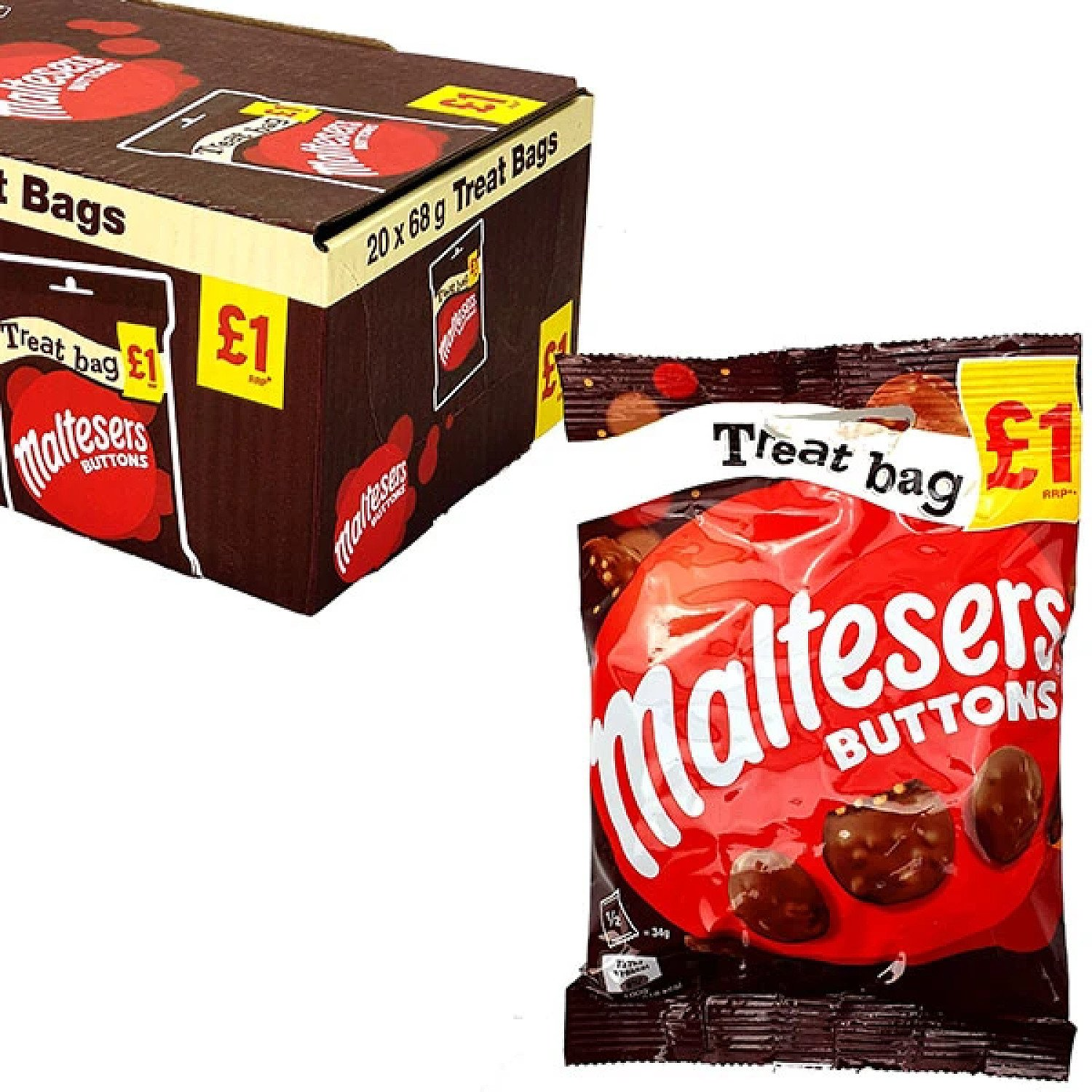20 X MALTESERS BUTTONS 68G TREAT BAGS Free Postage