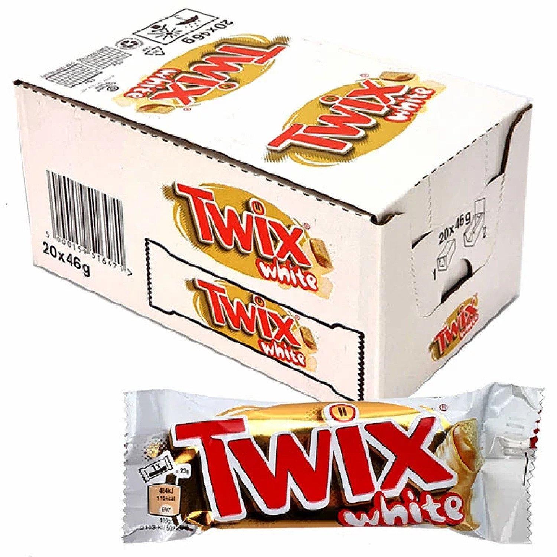 20 X TWIX WHITE CHOCOLATE STANDARD 46G BARS Free Postage