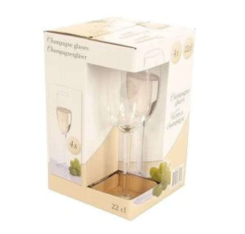 22cl Champagne Glasses Set of 4 Bar Drink Celebration Glassware Free Postage