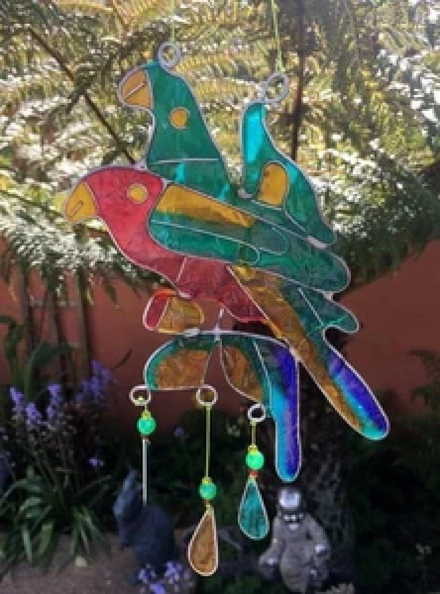 22cm Duo Parrots Hanging Sun Catcher Free Postage