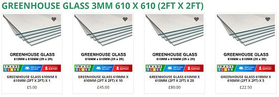 GREENHOUSE GLASS / HORTICULTURAL  610 MM x 610 MM (2ft x 2ft)