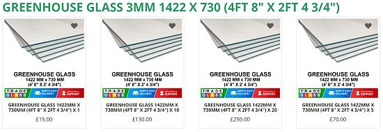 """GREENHOUSE GLASS / HORTICULTURAL  1422 MM x 730 MM (4ft 8"""" x 2ft 4 3/4"""")"""