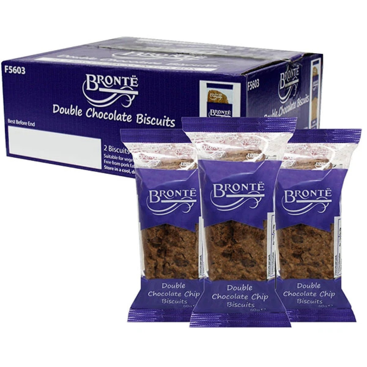 24 X BRONTE DOUBLE CHOCOLATE CHIP BISCUITS 60G TWIN PACKS Free Postage