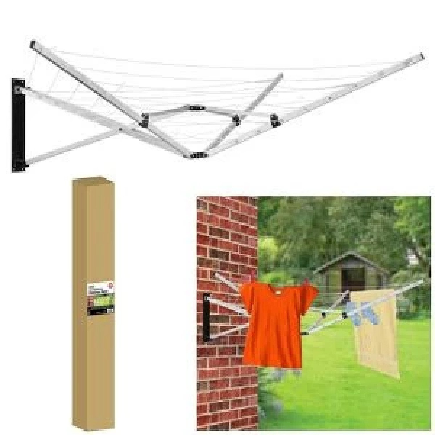 26m 5 Arm Wall Mountable Clothes Airer Dryer Washing Line Indoor Outdoor Garden Free Postage