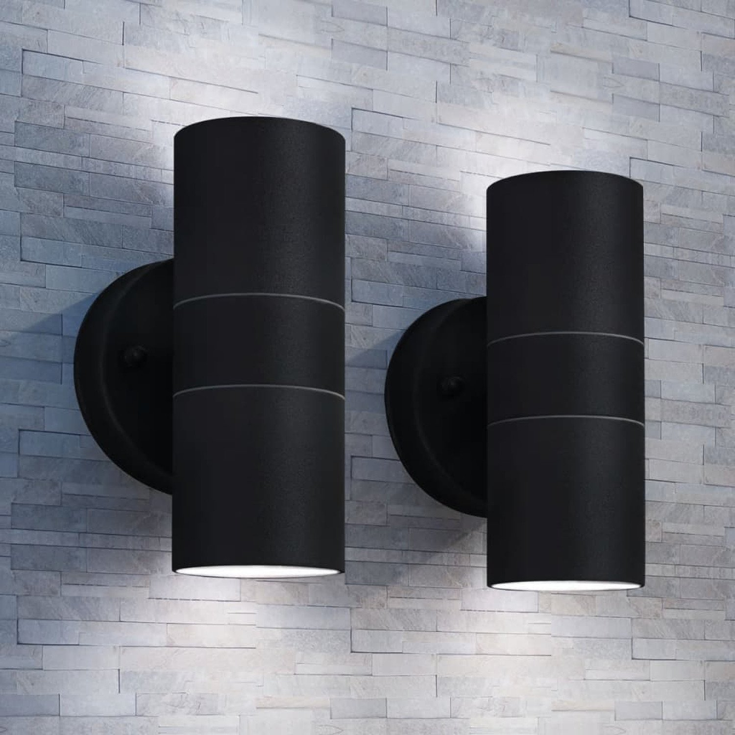 Outdoor Wall Lights x 2 Stainless Steel Up/Downwards £36