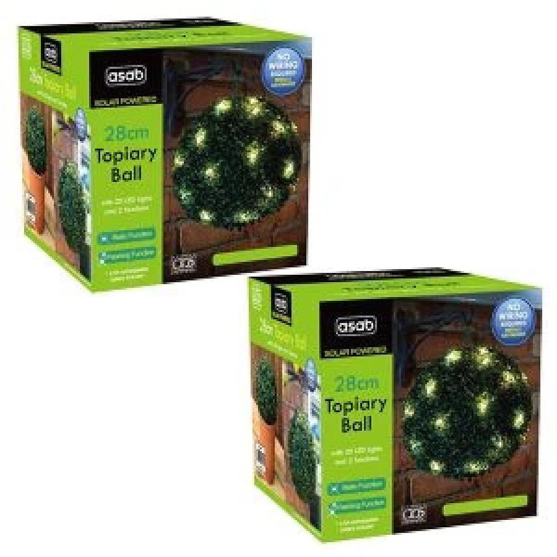 28cm Solar Topiary Ball x2 Green Garden Free Postage