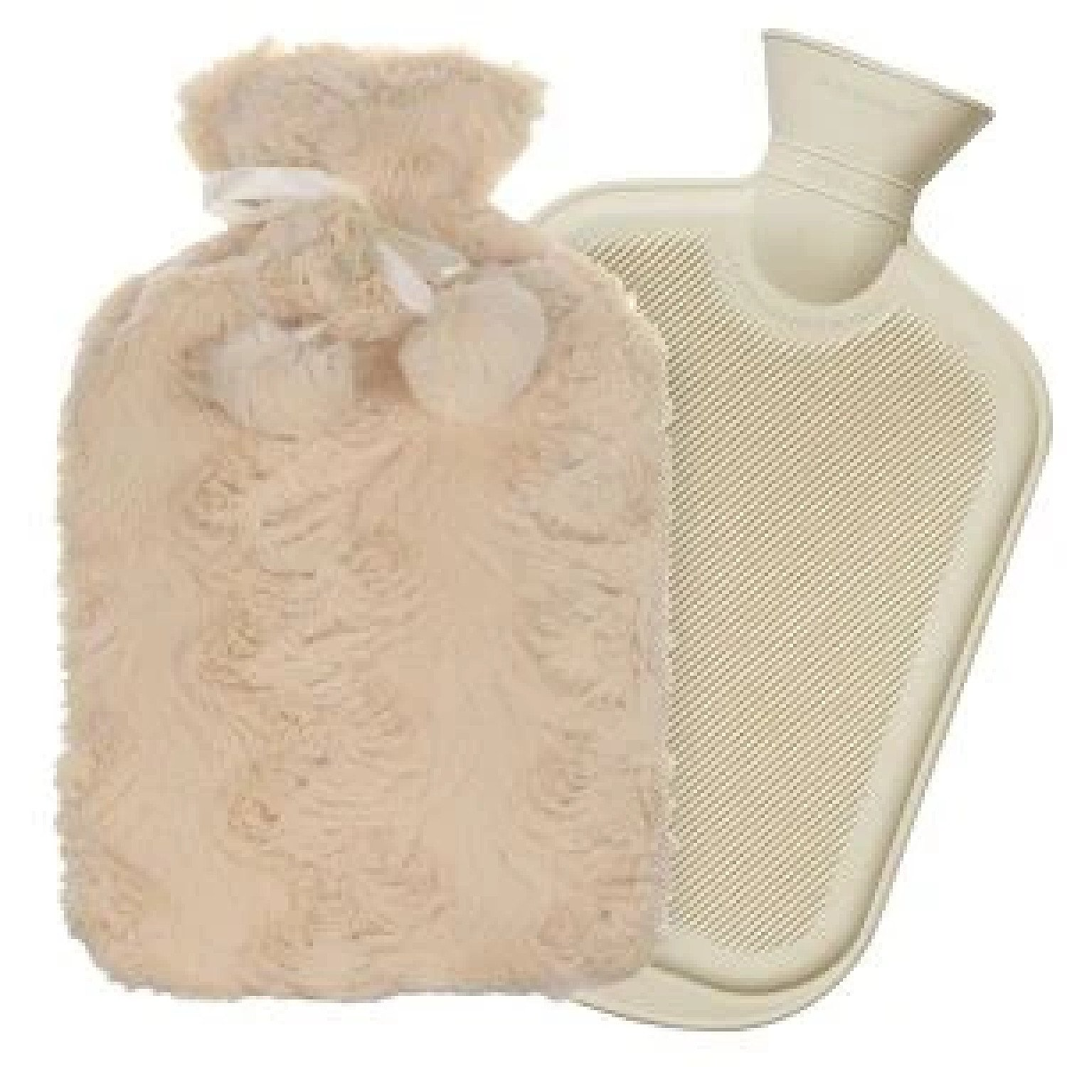 2L Hot Water Bottle Cover Knitted Faux Fur Plush Set Warm Cosy Winter Accessory Free Postage