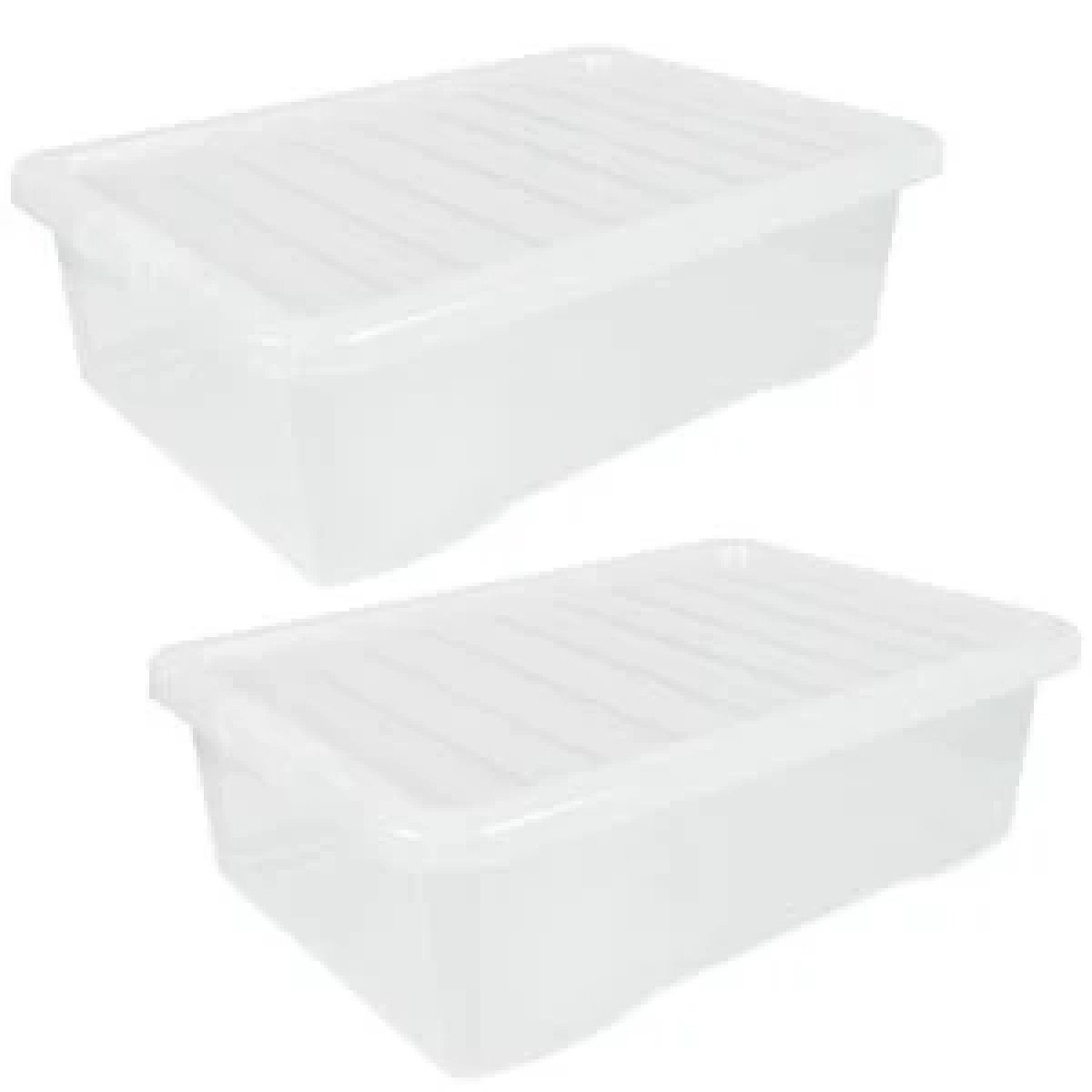 2x 32L Wham Crystal Storage Box with Clear Lid Free Postage