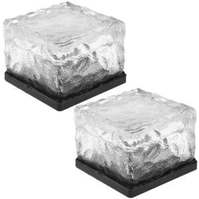 2x Solar Garden Glass Cube Path Light Free Postage