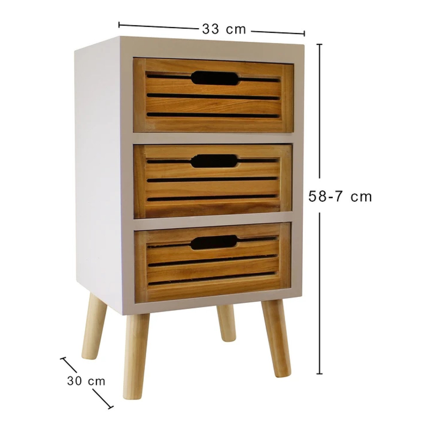 3 Drawer Unit In White With Natural Wooden Drawers With Removable Legs Free Postage