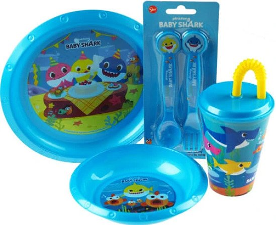 4 Piece Plastic Baby Shark Breakfast / Dinner Set - Plate, Bowl, Cup, Cutlery Free Postage