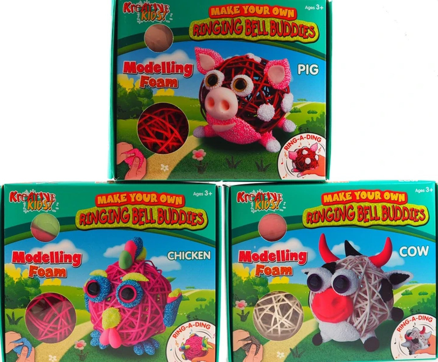 3 Make Your Own Ringing Bell Farm Craft Buddies - Cow, Chicken, Pig Free Postage