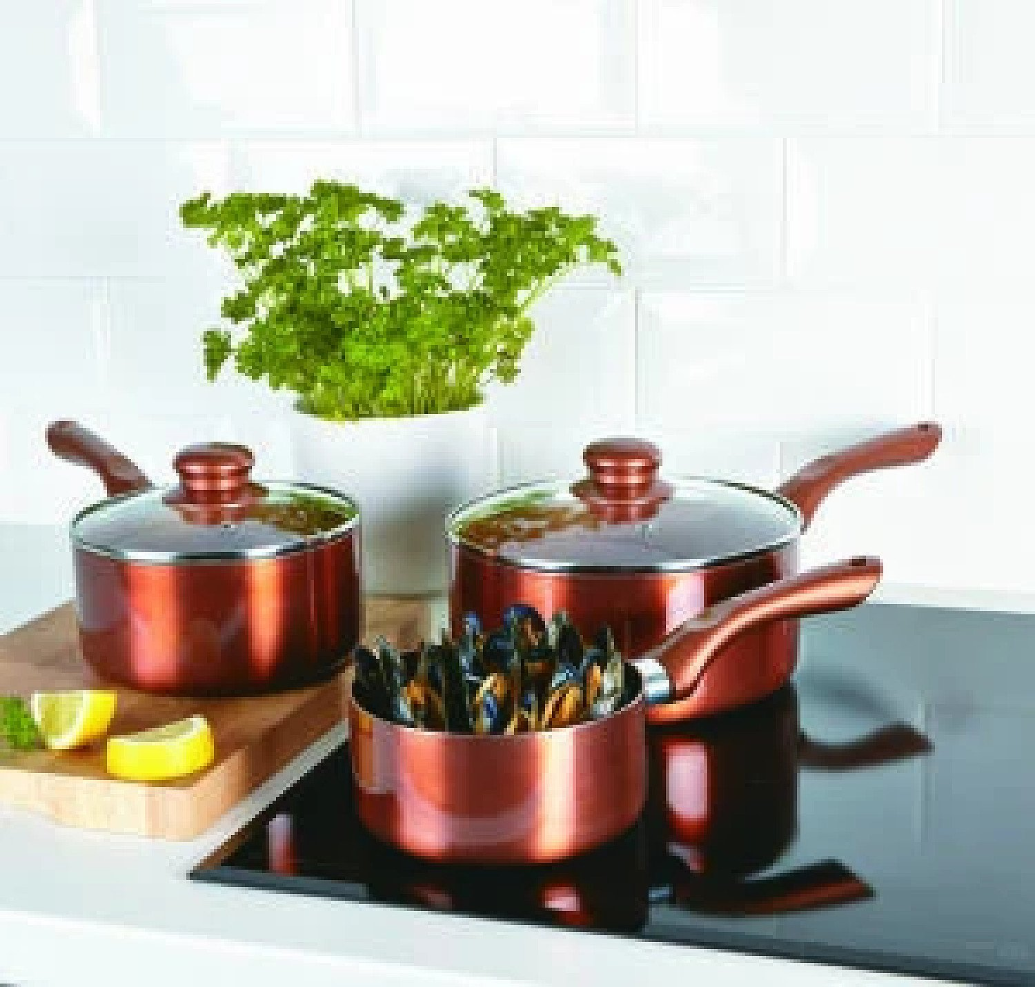 3 pc. Saucepan Set Ceramic 100% Non-Stick Healthy Cooking Cookware Copper Free Postage