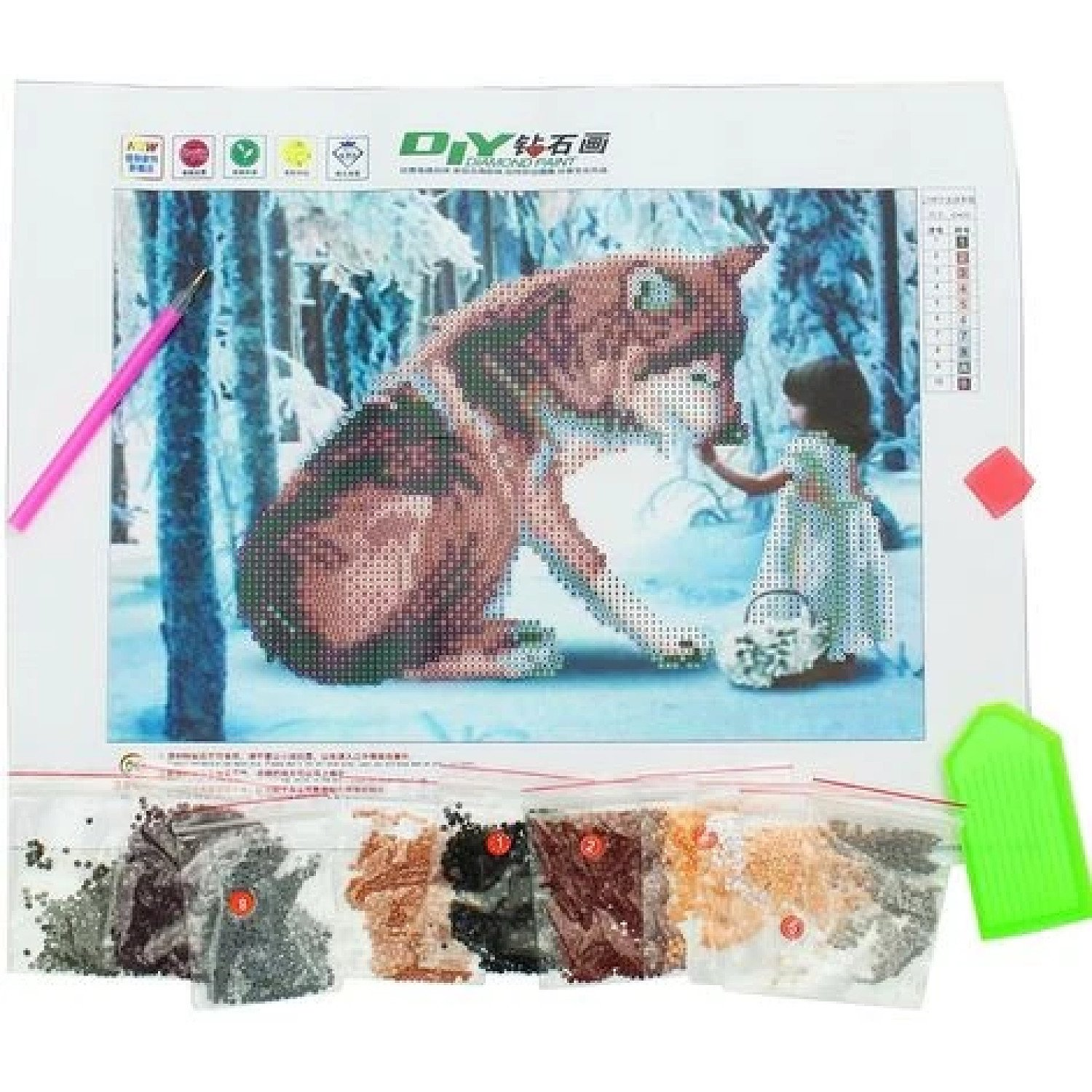 30 x 40 Cm Diy 5D Diamond Wolf Girl Embroidery Painting Paste Stitch House Free Postage