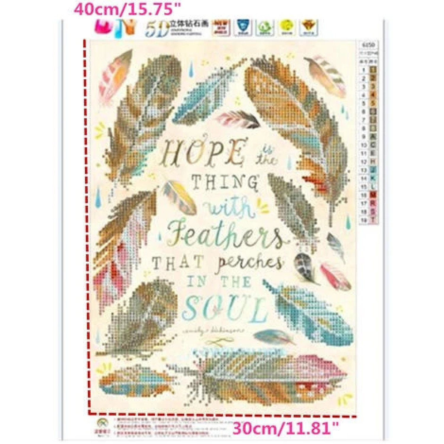 30 x 40Cm Diy 5D Cross Stitch Feather Embroidery Diamond Painting Free Postage