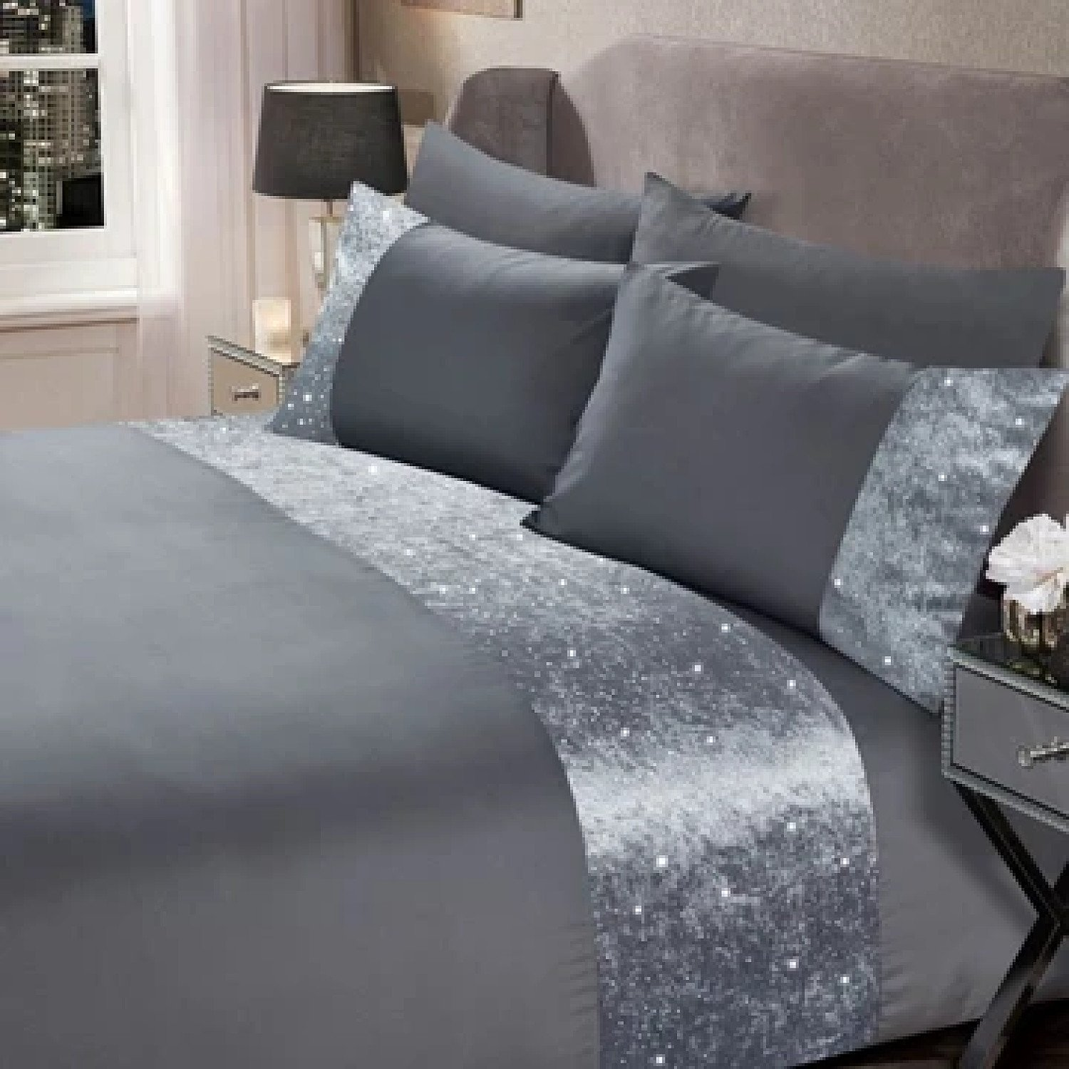 Sienna Crushed Velvet Duvet Cover Set