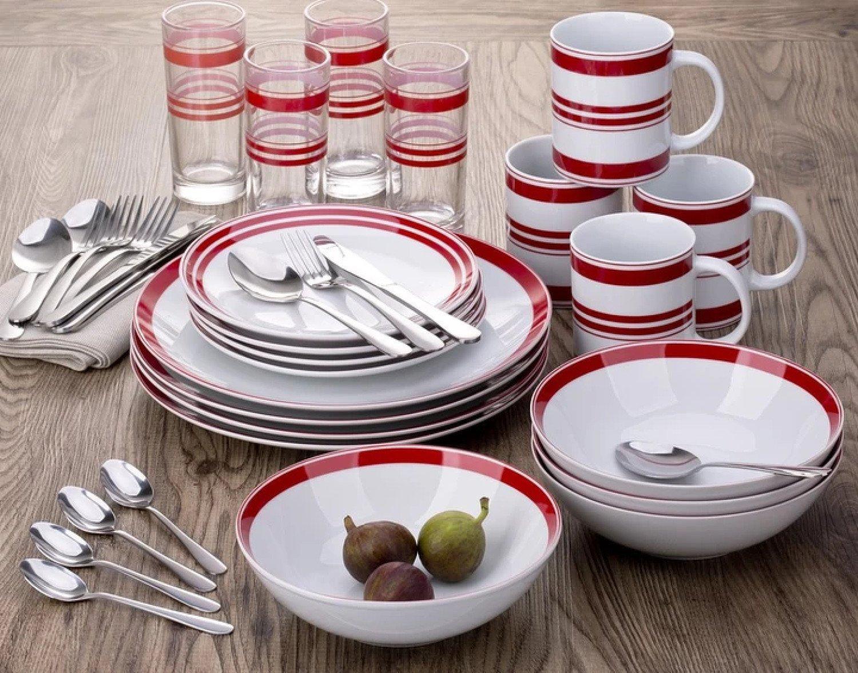 36 PIECE BISTRO RED & WHITE STRIPE COMBO DINNER SET Free Postage
