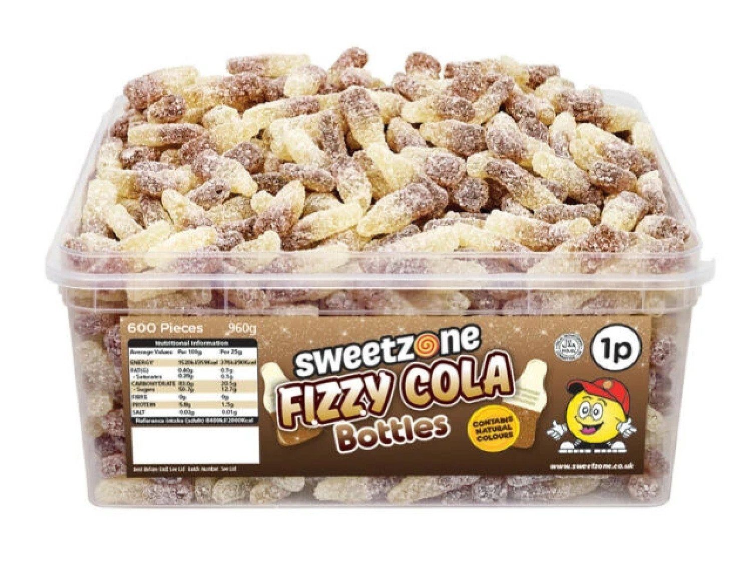 FIZZY COLA BOTTLES TUB (SWEETZONE) 600 COUNT Free Postage