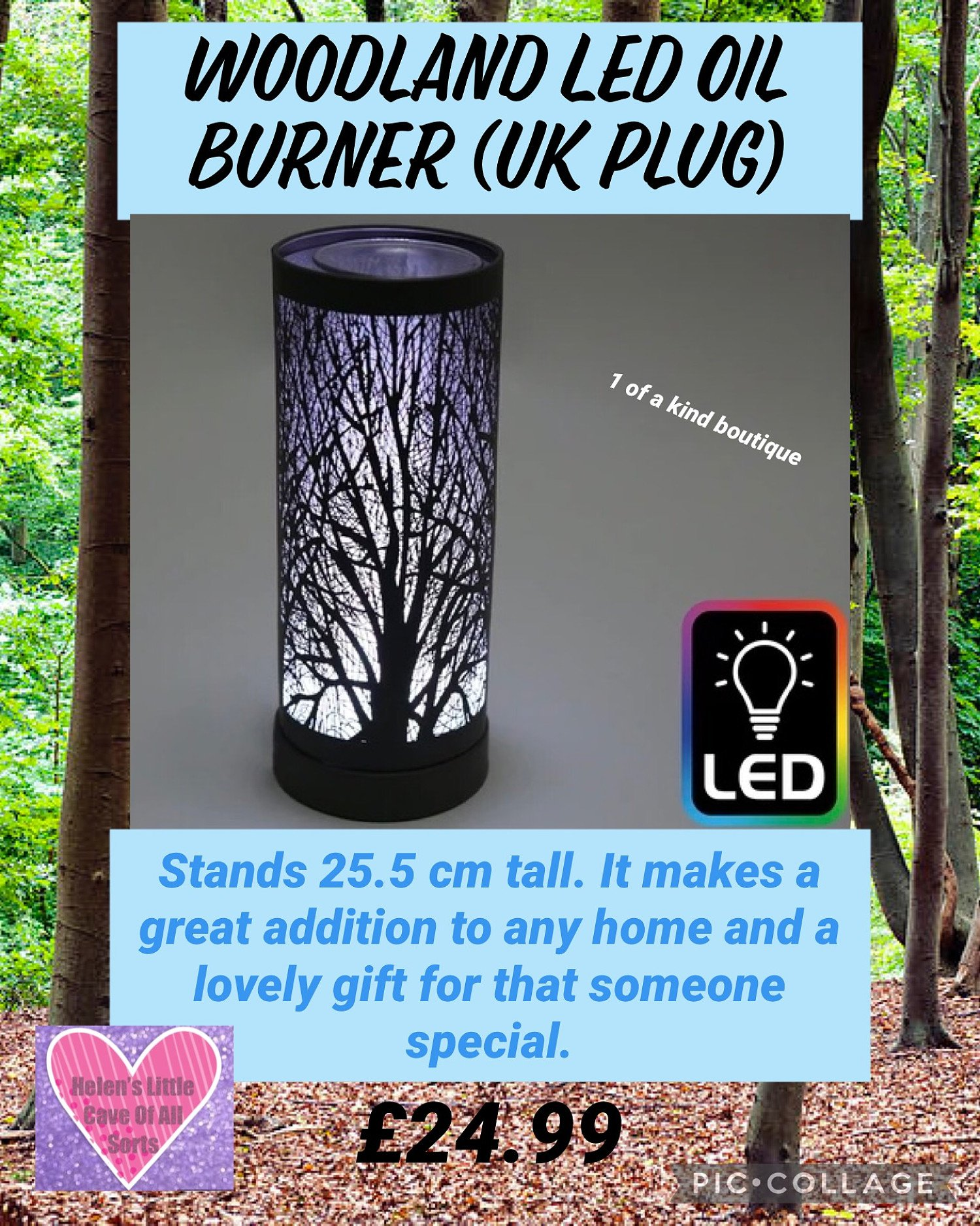 Woodland LED Oil Burner (UK Plug) Free Postage