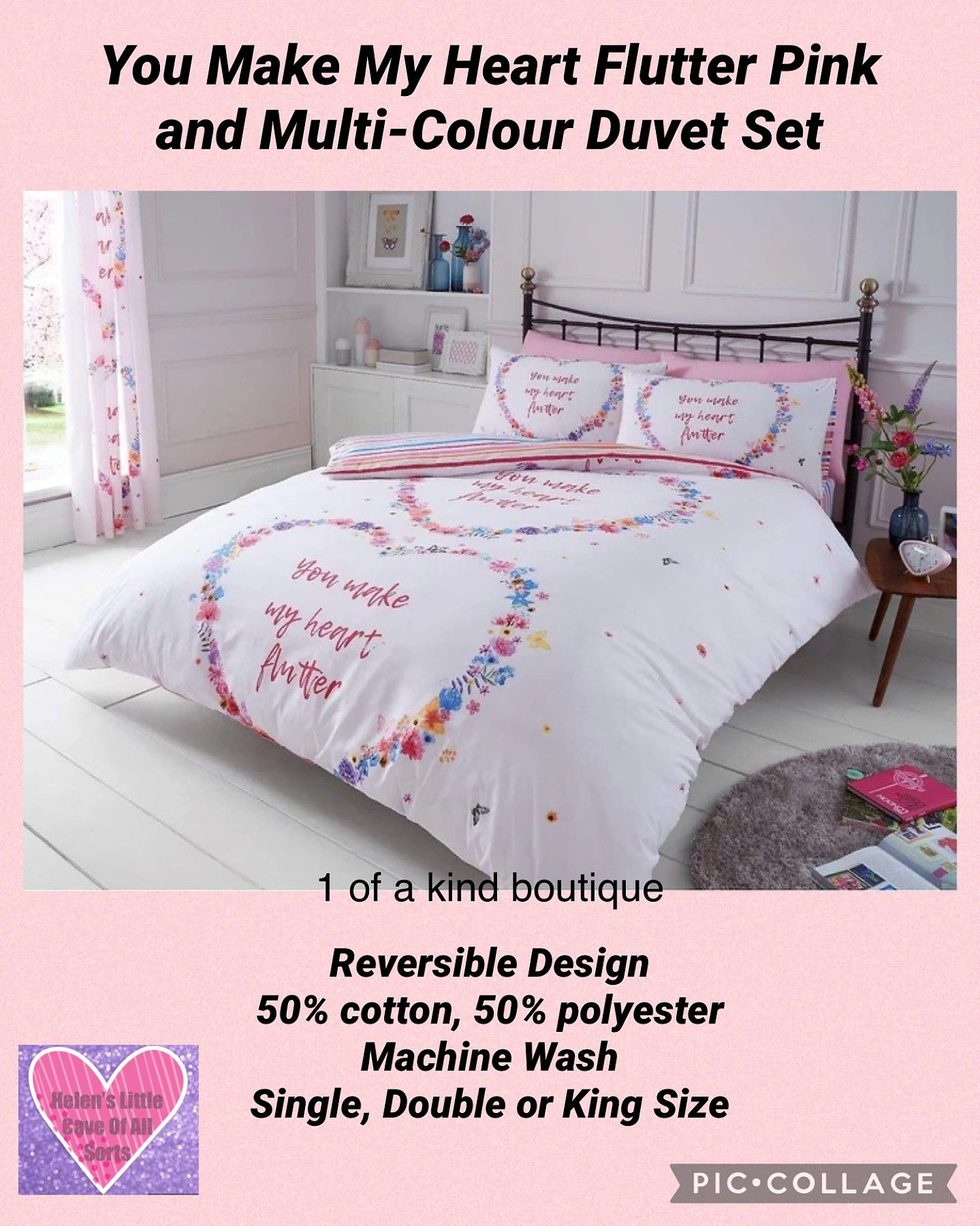 You Make My Heart Flutter Pink and Multi-Colour Duvet Set Free Postage