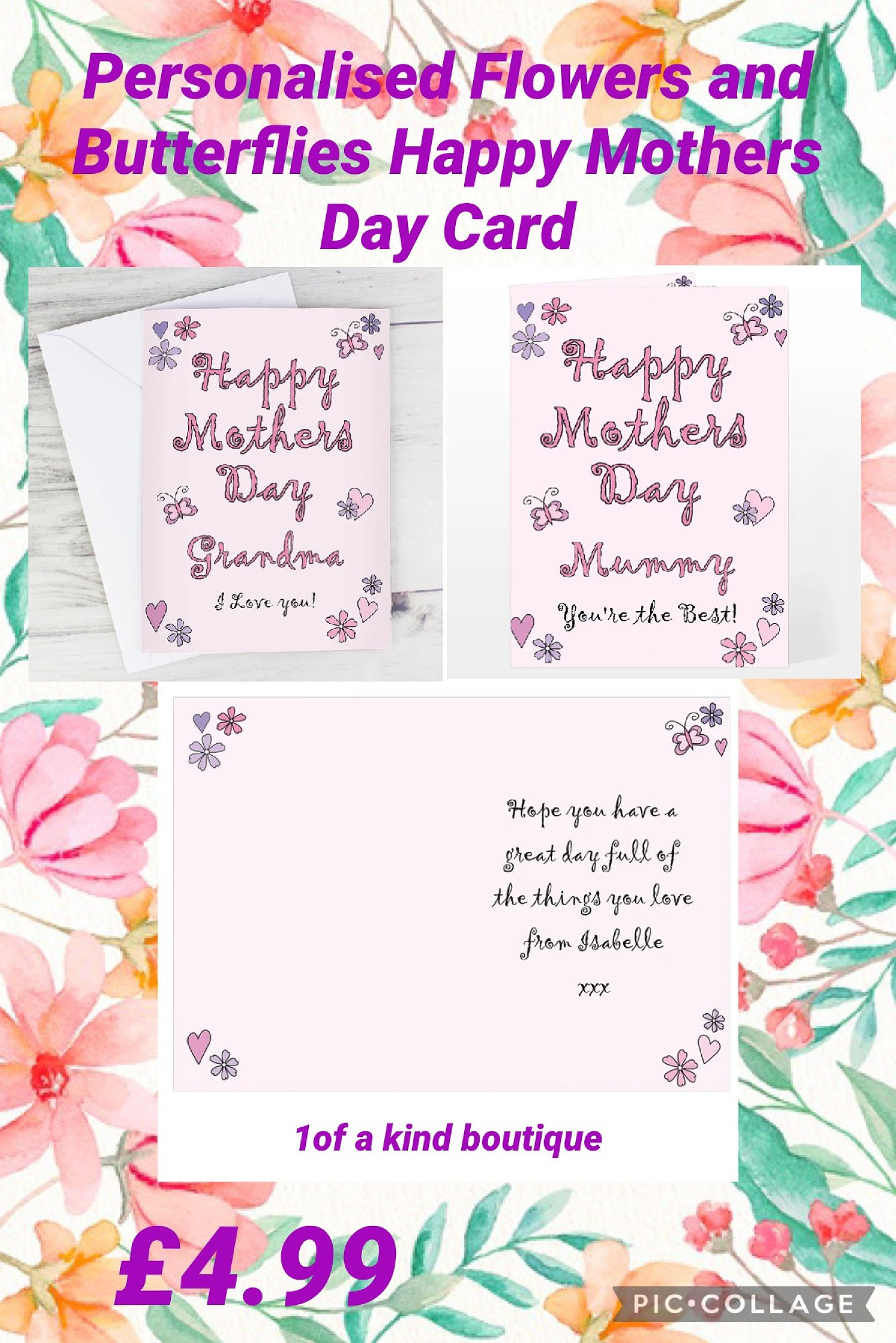 Personalised Flowers and Butterflies Happy Mothers Day Card Free Postage