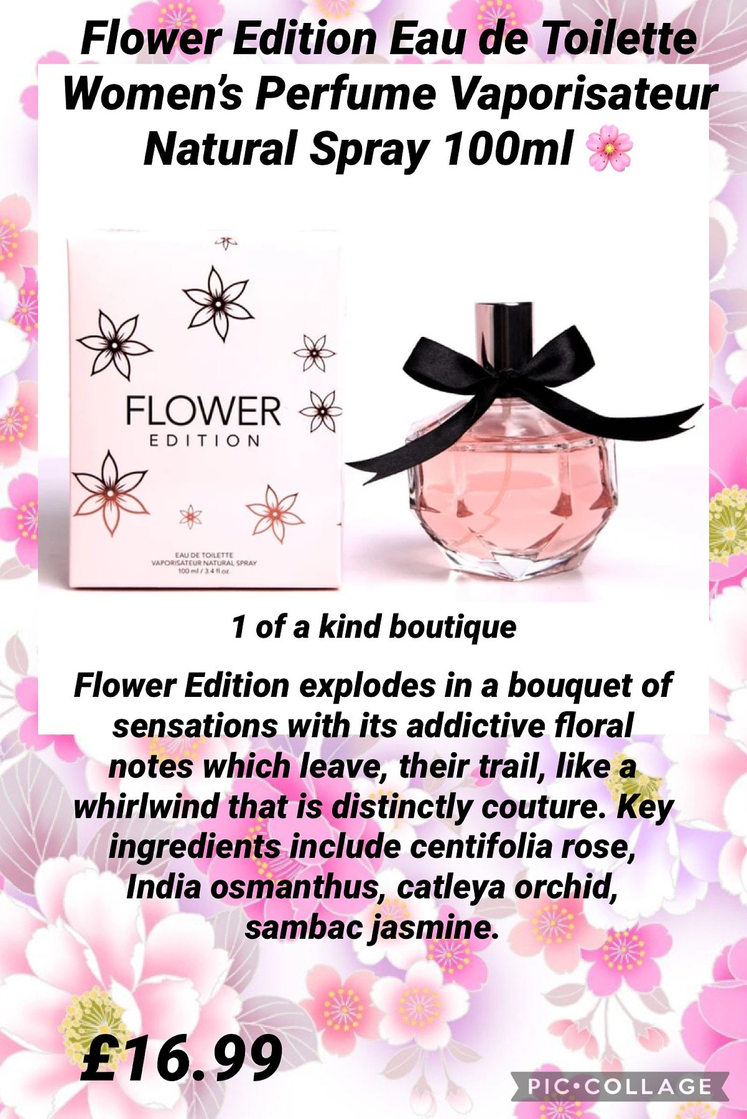 Flower Edition Eau de Toilette Women's Perfume Vaporisateur Natural Spray 100ml Free Postage