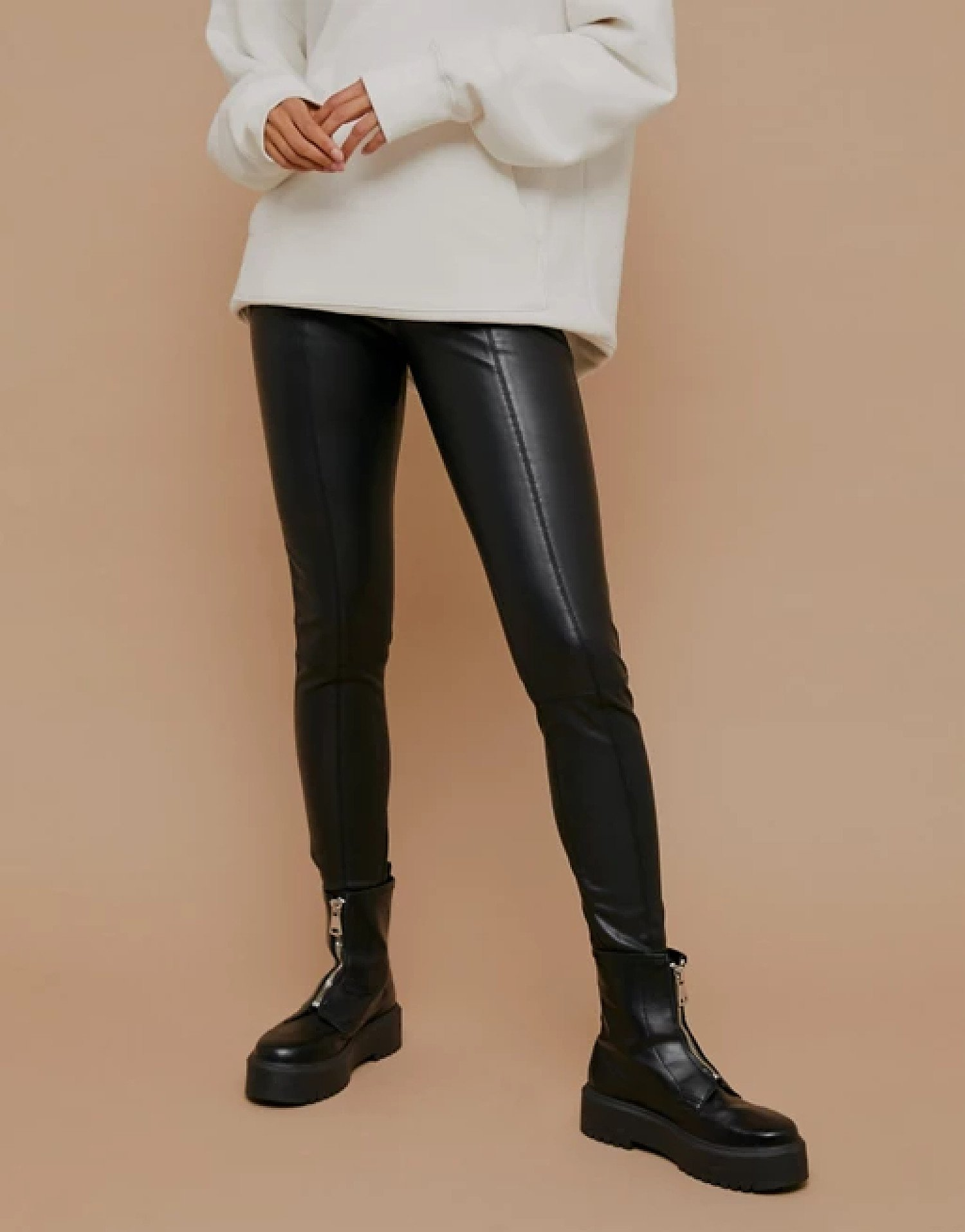 TOPSHOP TO ASOS - Topshop faux leather straight leg trousers in black £35.99!
