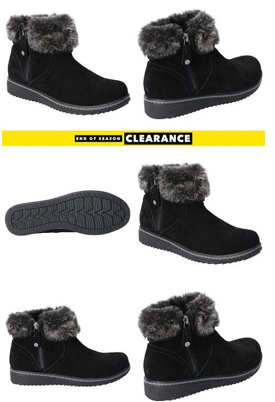 END OF SEASON CLEARANCE - Hush Puppies Womens Penny Zip Ankle Boot in Black: SAVE 13%