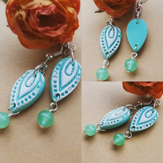 New store listing.... Mint green lotus earrings