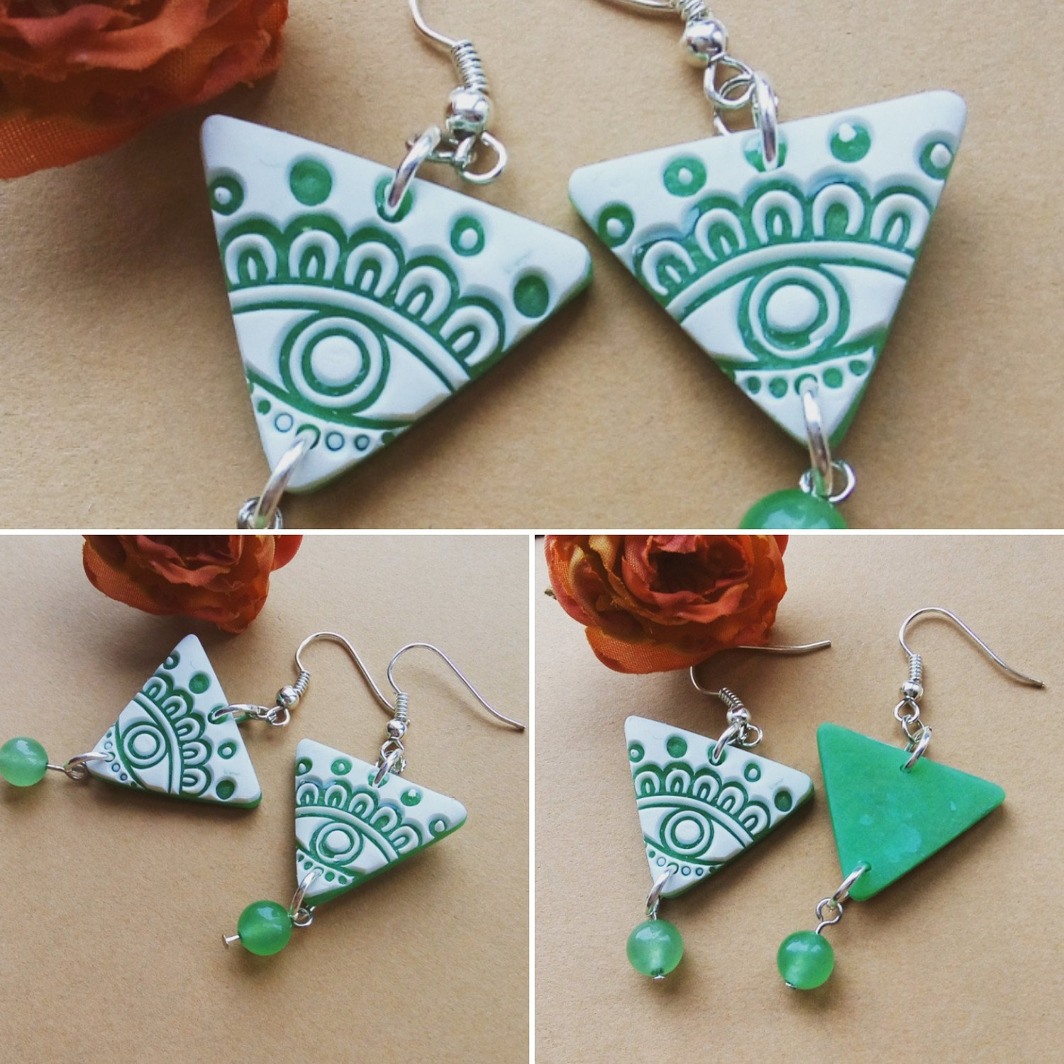 NEW STORE LISTING...A pair of ethnic jade green earrings.