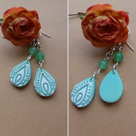 NEW STORE LISTING...Mint green lotus design earrings