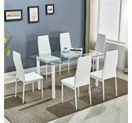 Stunning White Glass Dining Table Set