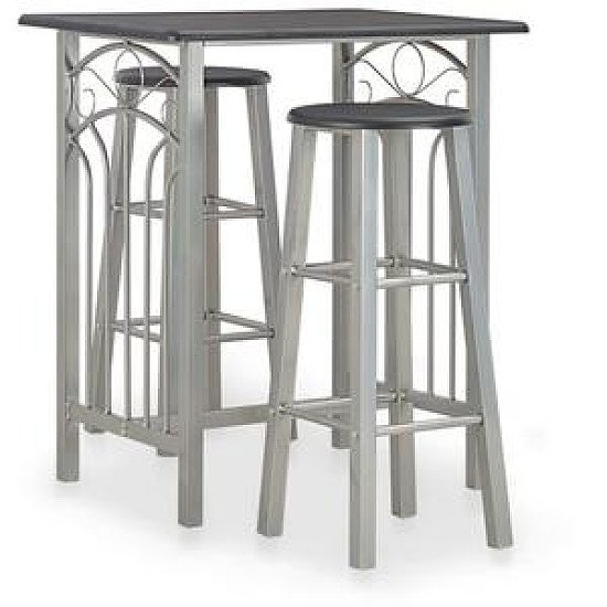 3 Piece Bar Set Wood And Steel
