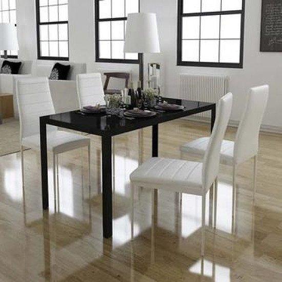 5 Piece Dining Table Set - Black