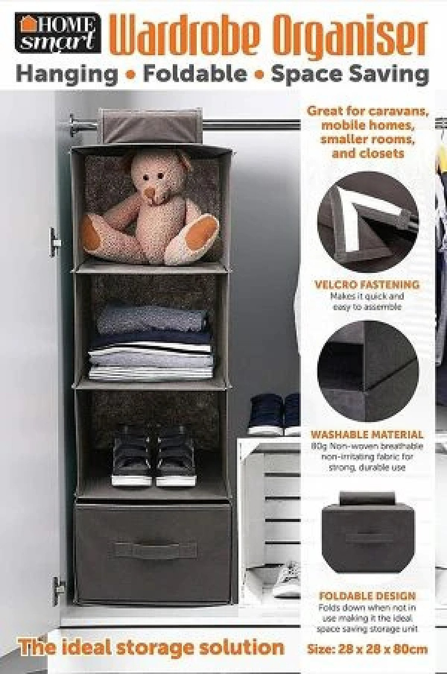 4 Pocket Organizer Shelves Hanging Wardrobe Space Saver Tidy Closet Free Postage