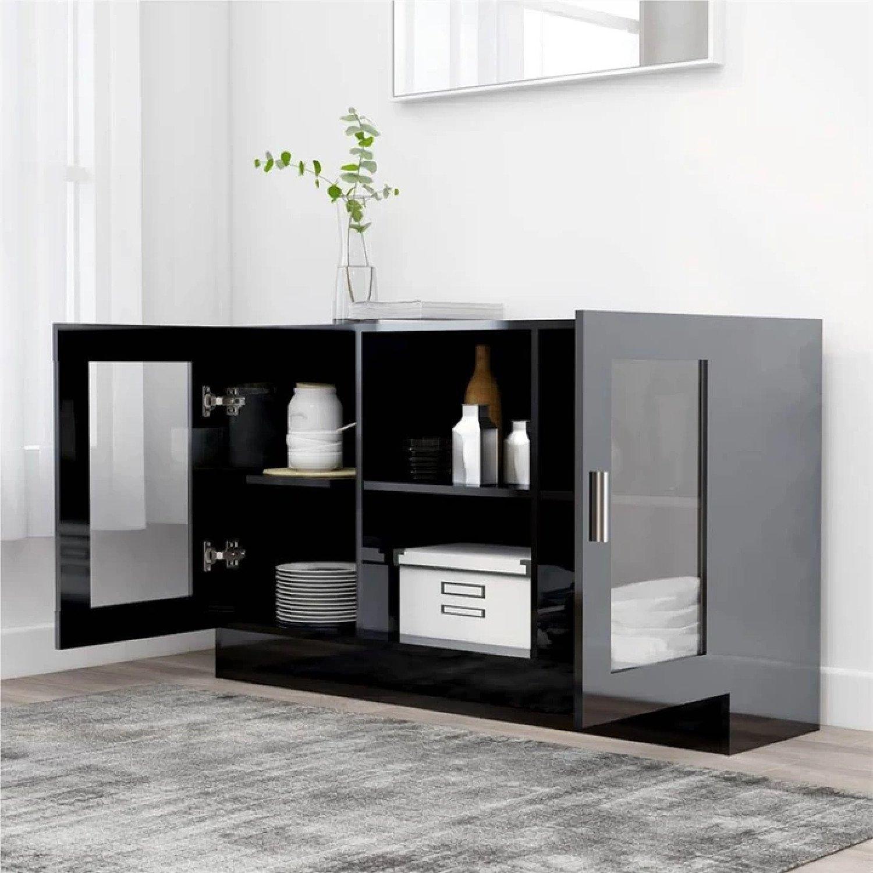 Sideboard High Gloss Black 120x30.5x70 cm Chipboard Free Postage